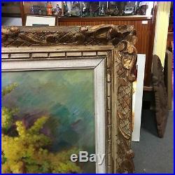 Stany SASSY bouquet de mimosa Tableau huile sur toile peinture provençale XXeme
