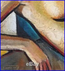 Stéphane GISCLARD(né en 1966). Détente Huile sur toile. V1058