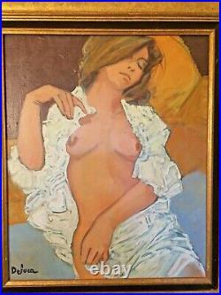 Sublime Huile sur toile Nu allongé signé Peter DELUCA