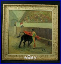 Superbe Peinture Ancienne Huile Sur Toile Corrida Toreador Torero Signee