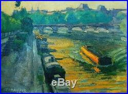 Superbe Tableau Signé Raymond Cazanove 1973 Paris Le Pont Neuf Grande Qualité