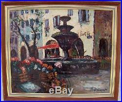 Superbe huile sig P. DUMONT fontaine a st Paul de Vence