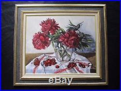 Superbe nature morte par Gérard Lafargue XXe les cerises prés du vase de fleurs