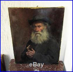 Superbe tableau ancien portrait d'un vieil homme artiste prêtre 1893 non signé