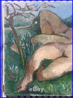 Suzanne Tourte Adam et Eve Tableau HsT Signé 1939 Amour Jardin Eden Reims Fauve