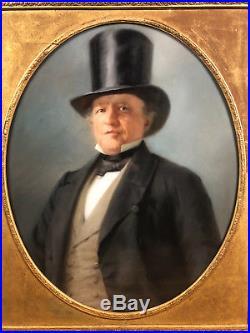 TABLEAU / PASTEL À VUE OVALE ÉCOLE FRANÇAISE DU XIXè D'UN PORTRAIT D'HOMME