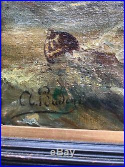 TABLEAU / PEINTURE / HUILE SUR TOILE ANCIENNE SIGNÉE et ENCADRÉE (SCENE MARINE)