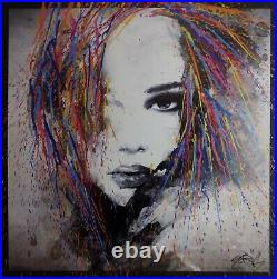 Tableau 80x80cm YORIS peinture street art. Toile decoration graffiti femme woman