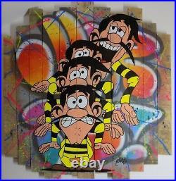 Tableau 80x80cm YORIS peinture street art sur toile, graffiti dalton lucky luke