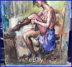 Tableau ALEXIS HINSBERGER (1907-1996) Peintre Espagnol Portrait La Soubrette