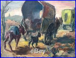 Tableau ALEXIS HINSBERGER(1907) Peintre Espagnol Scène de genre Les Romanichels