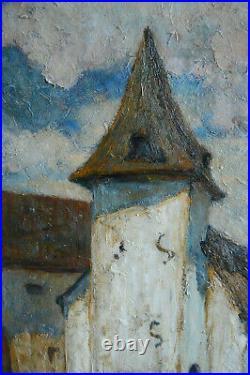 Tableau Adrienne Baudouin dHuart. Paysage animé Ecole luxembourgeoise