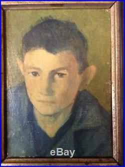 Tableau Ancien Huile Impressionniste style Derain Portrait Garçon non signé