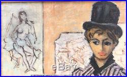 Tableau Ancien Huile Portrait Jeune Femme Eventail Daniel Vacher (1923-2014)