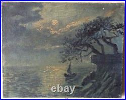 Tableau Ancien Impressionniste Marine effet de Nuit Huile sur toile signée