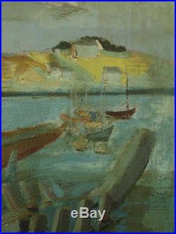 Tableau Ancien Marine Bretonne Bateaux au port Georges Lambert Cadre Hst