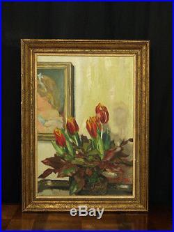Tableau Art Déco Bouquet de Tulipes dans un intérieur Cossu Portrait Van Hyft