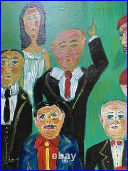 Tableau Art Moderne Naif Les Enchères Peinture signée Jean Wallis 1928-2020