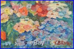 Tableau Constantin BRUNI 1900-1969 Russe Superbe jardin Paysage Fleurs