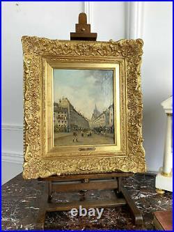 Tableau De Anton Ebert (1845-1896) Huile Sur Toile Signée Scene Animée