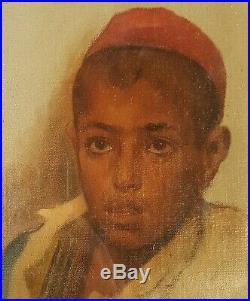 Tableau GUILLAUMET Portrait jeune arabe ALGERIE peinture croquis esquisse