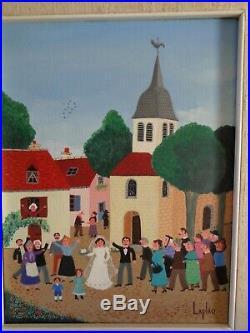 Tableau Gérard LAPLAU 1938-2004 Art Naïf Peinture VIVE LA MARIÉE