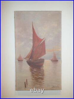 Tableau HST Marine bateaux au soleil couchant CA 1950 Navire Voilier pêche Mer
