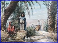 Tableau Hst 1930 Peinture Originale Scène Orientaliste Cueillette Des Dattes