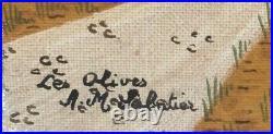 Tableau Huile Art Naïf Anne-Marie SABATIER Paysage Cueillette Olives Provence XX