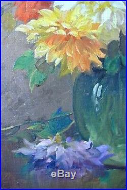 Tableau Huile Post Impressionniste KEES TERLOUW 1890-1948 Bouquet Fleurs Dahlias
