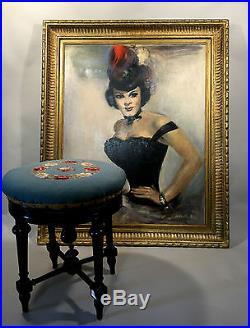 Tableau / Huile Sur Toile Encadrée De Jean Aubin Provenance Cabaret De Paris
