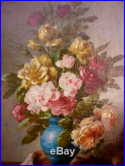 Tableau Huile Sur Toile Fin 19 Eme Nature Morte Bouquet Fleurs Signe Boucher