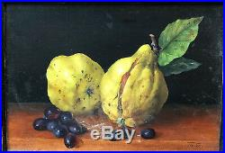 Tableau Huile THÉRÈSE DE GAULLE Nature Morte aux Fruits Mangue Raisins 1987