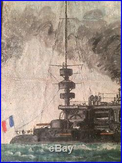 Tableau Huile XXe Marine Cuirassé Charles Martel Marine Nationale Francaise