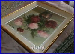 Tableau Huile sur toile Bouquet de fleurs Pivoines ou Roses Signé & daté 1945