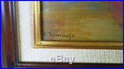 Tableau, Huile sur toile, Nature morte coupe de fraises, signée, Cadre DELF 8F