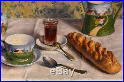 Tableau Magnifique qualité Nature morte petit déjeuner huile sur toile