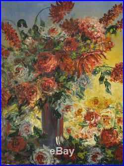 Tableau Orientaliste Bouquet de Fleurs Roses Pivoines G. Maury Still Life Hst
