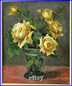 Tableau Original Andréa Guérin vers 1930/1950 bouquet de fleurs roses