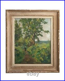 Tableau Paysage Sous-bois et Mer Peinture Huile sur Toile Georges LATTES XXeme