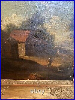 Tableau Paysage de Campagne animé Paysans Peinture XVIIIème Ecole Hollandaise