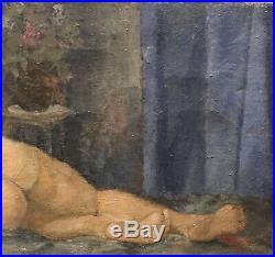 Tableau Peinture 20è XXè Signé Daté 1948 Nu couché Erotisme Réalisme Rare ancien