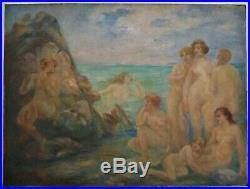 Tableau Peinture Art Nouveau Alfred Finot (1876-1947) école de Nancy Symbolisme