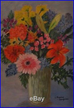 Tableau Peinture HUILE sur TOILE NATURE MORTE BOUQUET FLEURS anémones Art Déco