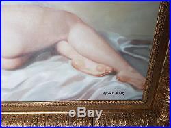 Tableau Peinture Huile JEUNE FEMME NUE années 40 NAKED WOMAN- par Albert GENTA