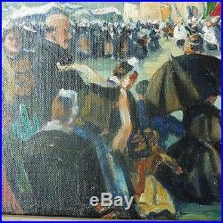 Tableau Peinture Huile Sur Toile Jean Le Neuthiec Bretagne La Palud Pardon 1935