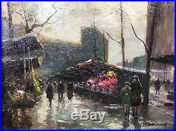 Tableau / Peinture / Huile Sur Toile Le Marché Aux Fleurs Signé H. Ranaud