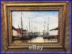 Tableau / Peinture / Huile Sur Toile Le Port Signée F. Nicoli