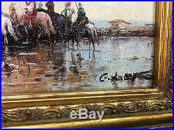 Tableau / Peinture / Huile Sur Toile Les Cavaliers Signée G. Latif