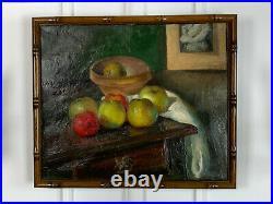 Tableau / Peinture / Huile Sur Toile Nature Morte Aux Pommes Encadré
